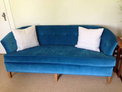 Blue Velvet Tufted Couch