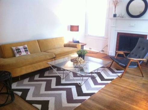 Gray Chevron Wool Rug