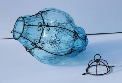 Handblown Mexican Iron and Glass Pendant Lamp