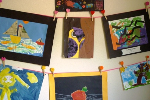 Ribbon and Clothespin Closeup of Kids' Art Wall