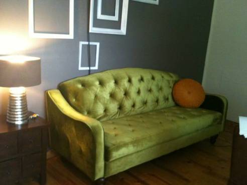 Vintage Moss Green Tufted Sofa