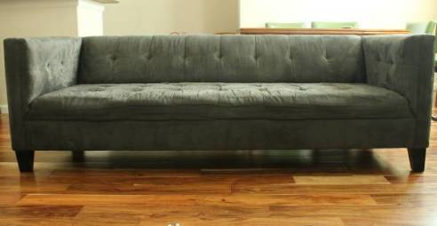 Modern Gray Velvet Tufted Sofa