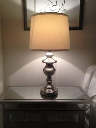 Pair of Brushed Nickel Lamps