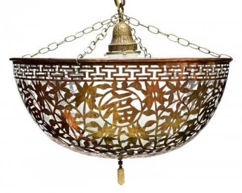 04 Asian Pierced Copper Shade Chandelier