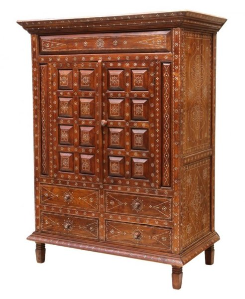 08 Mother of Pearl Inlaid Wood Cabinet
