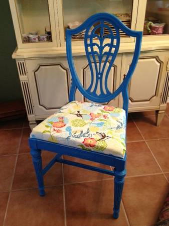 12 Antique Blue Accent Chair