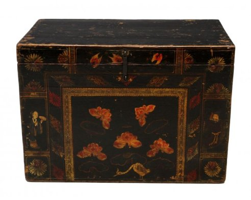 16 Japanese Lacquered Figural and Floral Painted Trunk