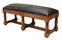 17 Embossed Leather Top Bench