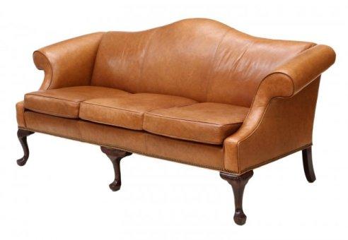 18 Ethan Allen Camel Back Leather Sofa