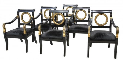 20 Set of 6 French Empire Style Parcel Gilt Lacquer Chairs
