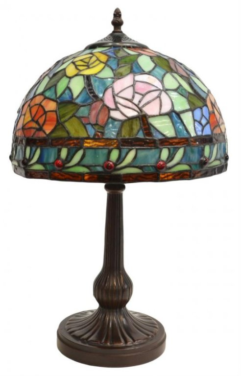 23 Stained and Leaded Floral Table Lamp