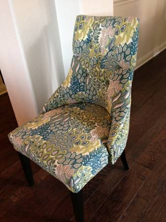 Blue and Lime Patterned Accent Chair