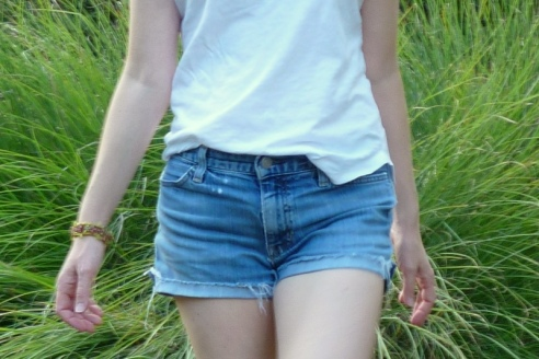 Cutoffs with White Tee 5