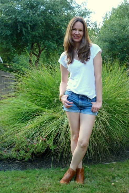 Cutoffs with White Tee