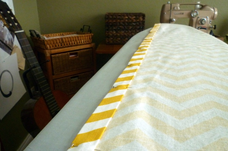 Ironed and Pinned Curtain Hem