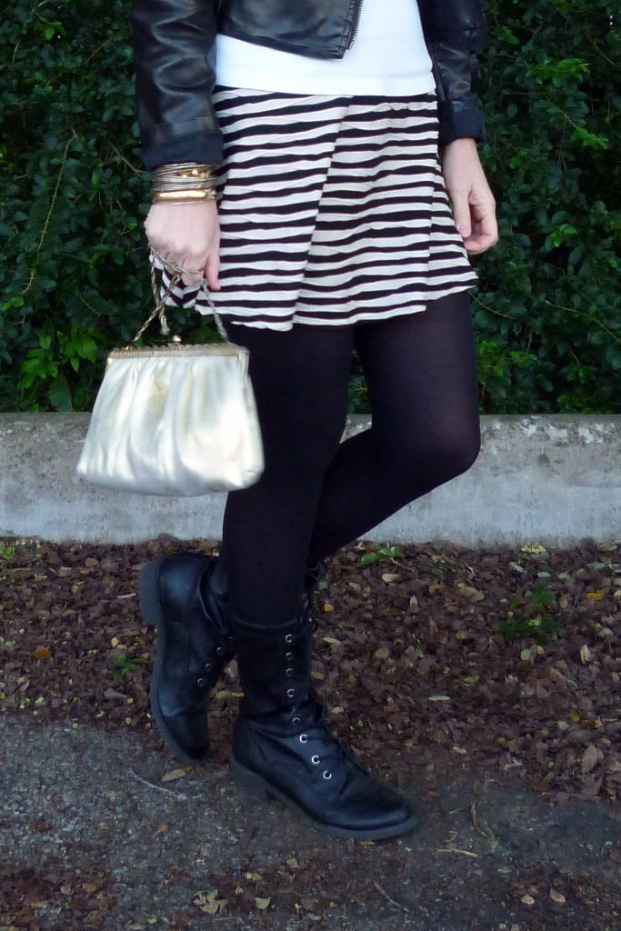 Black Lace-Up Boots with Tights