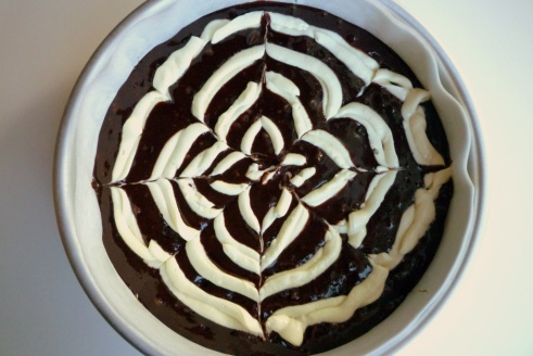 Brownie Batter with Cream Cheese Spiderweb