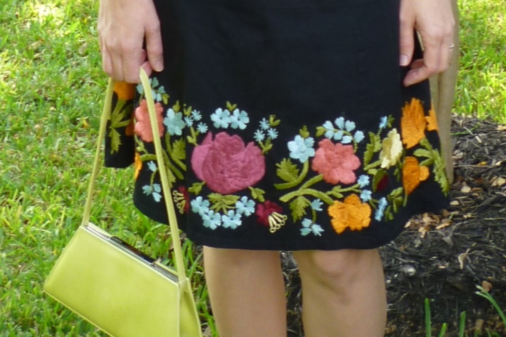 Embroidered Skirt and Lime Green Handbag