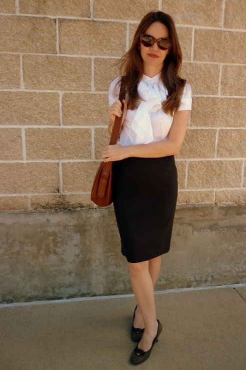 Pencil Skirt and Ruffle Collar Shirt 2