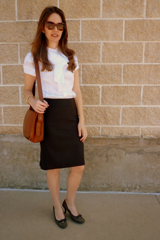 Pencil Skirt and Ruffle Collar Shirt 1