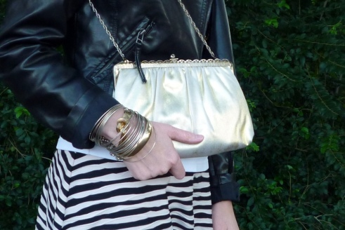 Metallic Frame Bag and Gold and Silver Bracelets