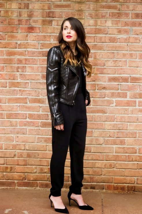 Black Moto Jacket and Jumpsuit
